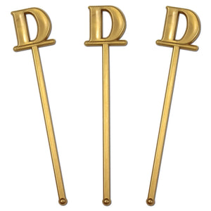 "Royer 6"" Wedding Monogram Letter ""D"" Swizzle Sticks/Stirrers, Bold Font, Gold, Set of 24, Made in USA"