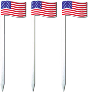 "Royer 4.5"" American Flag Cocktail & Sandwich Picks/Skewers, Set of 24 - Made In USA"