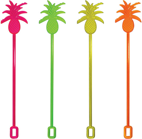 Royer 10 Inch Pineapple, Tropical Swizzle Sticks, Assortment (Pink, Yellow, Orange, Green), Set of 24 - Made In USA