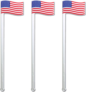 "Royer 6"" American Flag, Patriotic Swizzle Sticks, Drink Stirrers, Set of 24 - Made In USA"