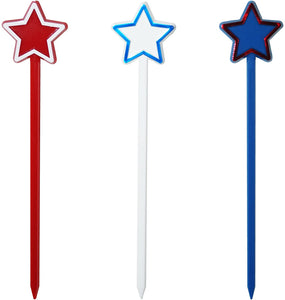"6"" Patriotic Star, USA Themed Swizzle Sticks, 24 ct, Made in USA"