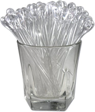 "Royer 5.5"" Plastic Teardrop Swizzle Sticks, Cocktail/Whiskey Stirrers, Set of 24, Crystal - Made In USA"