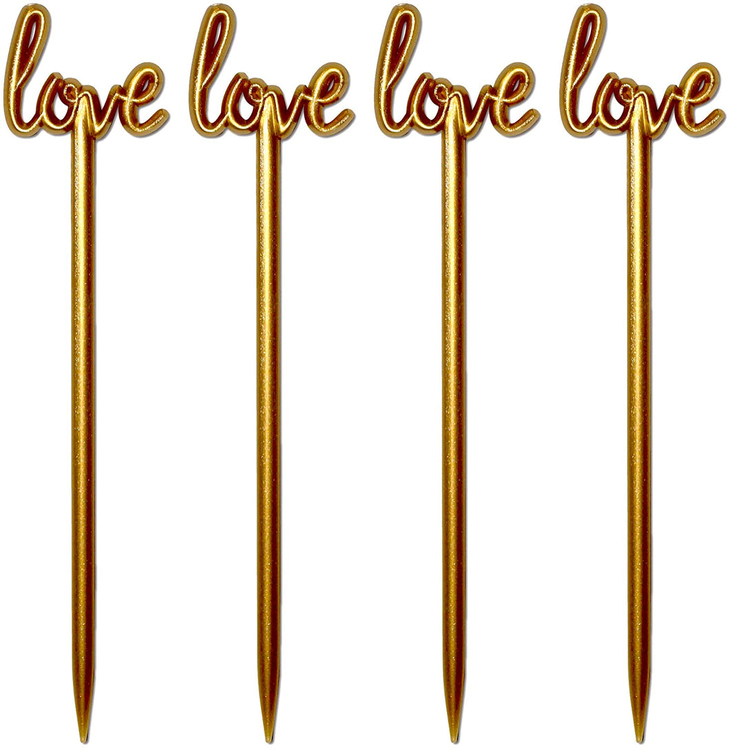 Royer 4.5 Inch Plastic Love Script Wedding Cocktail Picks, Set of 48, Gold - Made In USA
