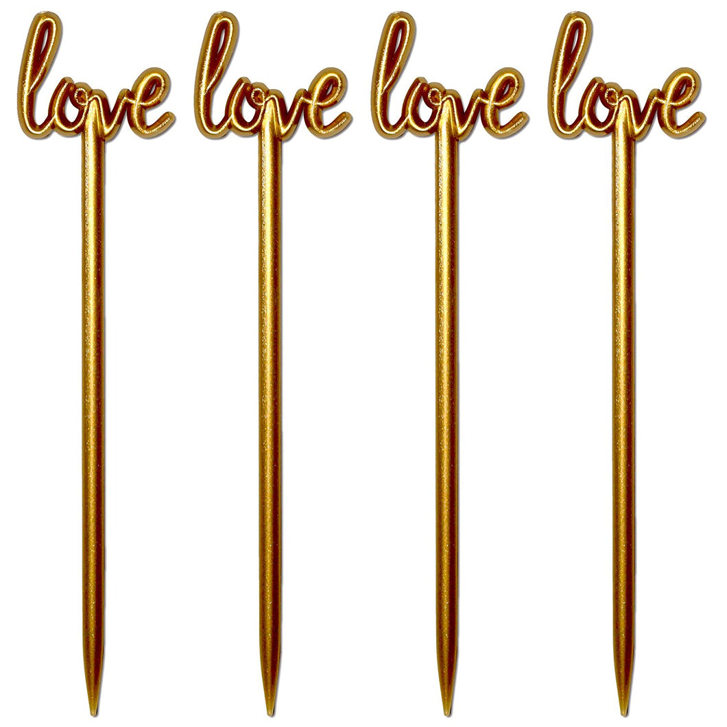 4.5 Inch Plastic Love Script Wedding Cocktail Picks, Case of 5,000