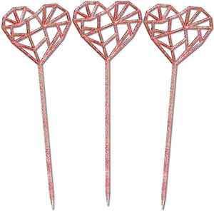 "6"" Geometric Heart Swizzle Sticks, Drink Stirrers, Gold, Set of 24 - Made in USA (Gold)"