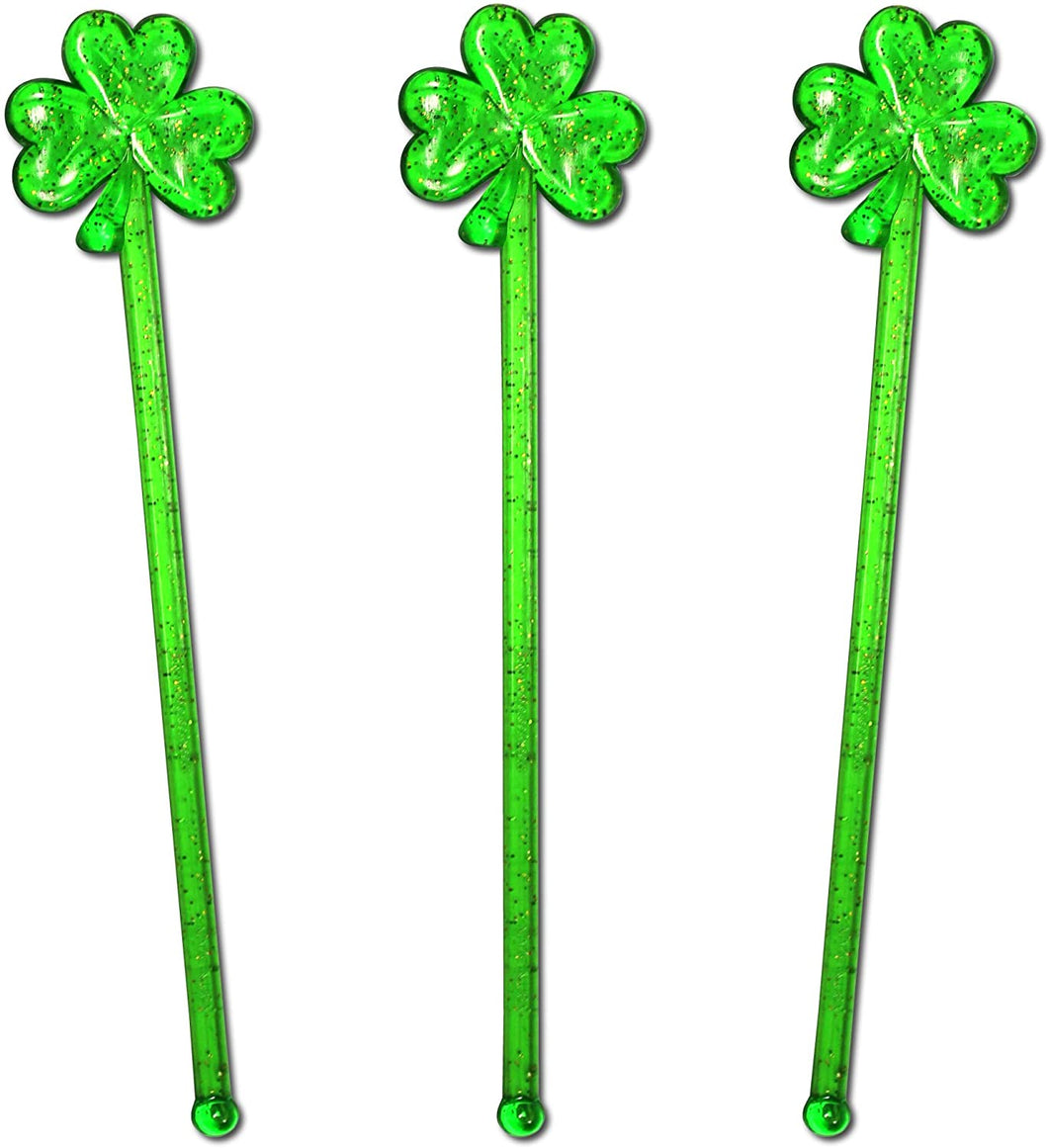 Royer Puffy Shamrock Swizzle Sticks, Stir Sticks, Cocktail Stirrers for St. Patricks Day - Green With Gold Glitter, 6 Inch, Set of 24, Made in USA