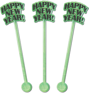 "Royer 6"" Happy New Year, Countdown Clock, NYE Party Swizzle Sticks, Set of 24"