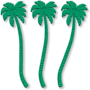 Royer 7 Inch Transparent Green Palm Tree Swizzle Sticks, Set of 24 - Made In USA