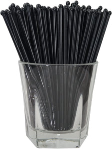 Royer 6 Inch Round Top Swizzle Sticks, Set of 48, Black - Made In USA