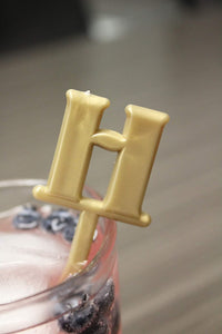 "Royer Letter""H"" Monogram Swizzle Sticks/Stirrers, Bold Font, Gold, Set of 24 - Made in USA"