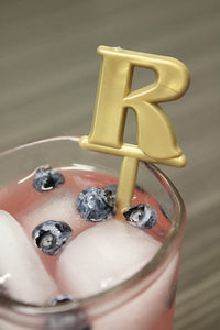 "Royer Letter""R"" Monogram Swizzle Sticks/Stirrers, Bold Font, Gold, Set of 24 - Made in USA"