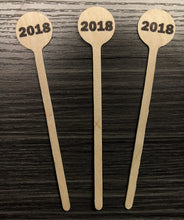 "Royer 6"" Wooden 2018 Happy New Year, Graduation Swizzle Sticks, Set of 28"