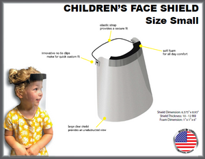 Size SMALL Children's Protective Face Shields, 50 pcs/case, PETG