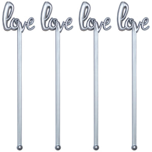 6 Inch Plastic Love Script Wedding Swizzle Sticks, Case of 5,000