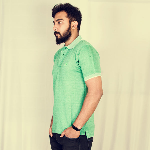 Green Melange short sleeve polo