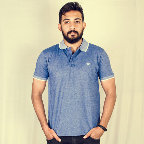 Blue Melange short sleeve polo