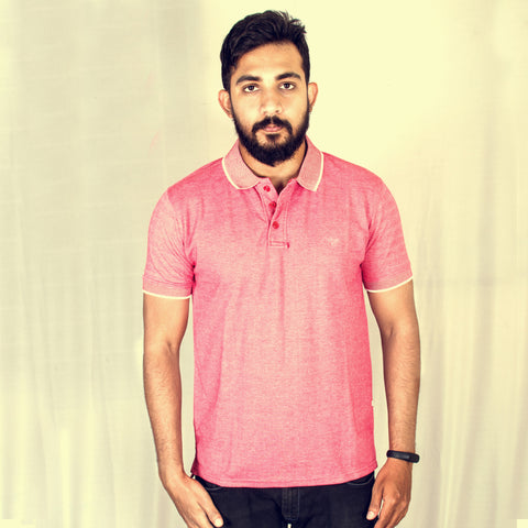 Red Melange short sleeve polo