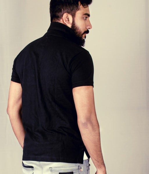 Identity short sleeve Black polo shirt