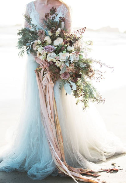 cascading bouquet with ribbons