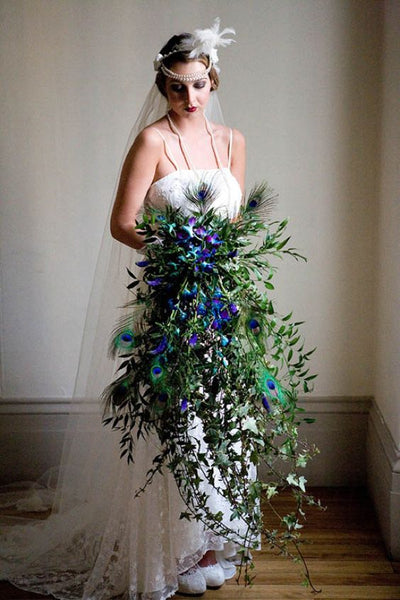 peacock feather glam bouquet