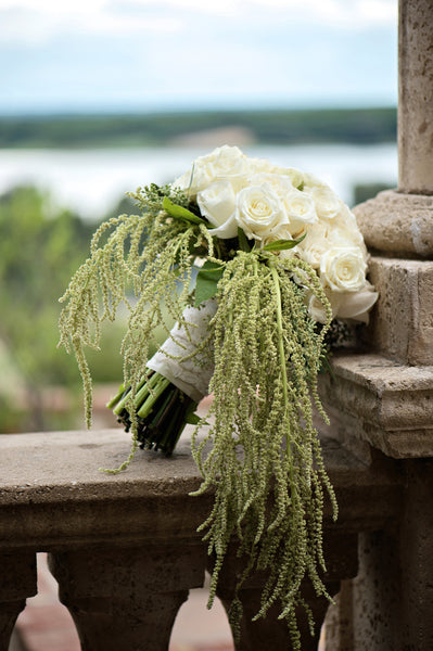 white roses with amaranthus bouquet