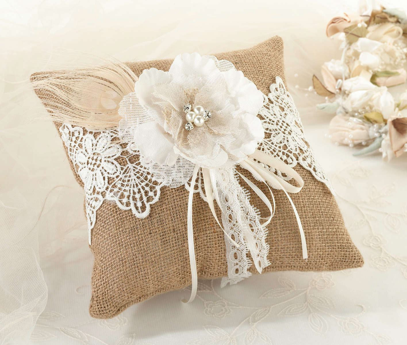 Burlap And Lace Ring Pillow: Wedding Burlap And Lace Ring Pillow At Websimilar.org