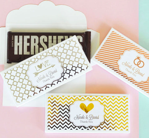Personalized Metallic Foil Chocolate Bar Wrappers