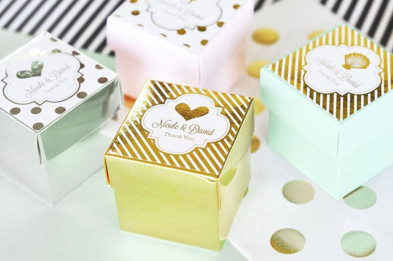 Personalized Mini Favor Boxes with Metallic Foil Labels
