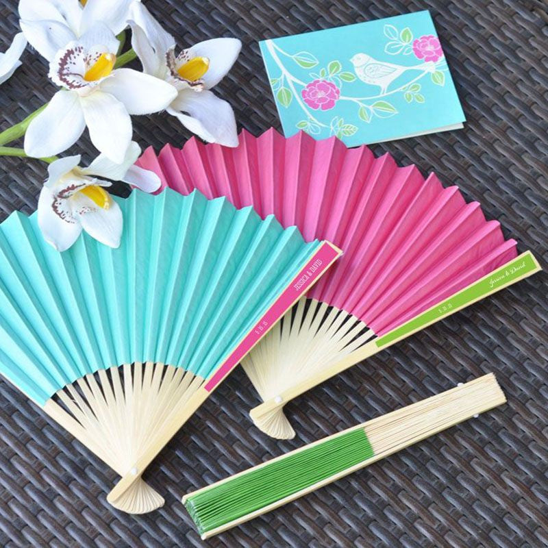Personalized Colored Paper Fans For Wedding