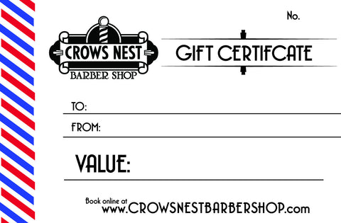Crows Nest Barber Shop Gift Certificate