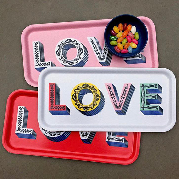 Love / multi - Tray 32x15cm