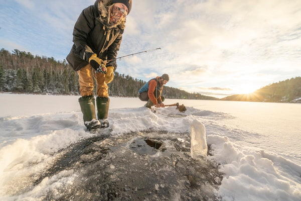 Ice Fishing outside the Esker Hot Tent