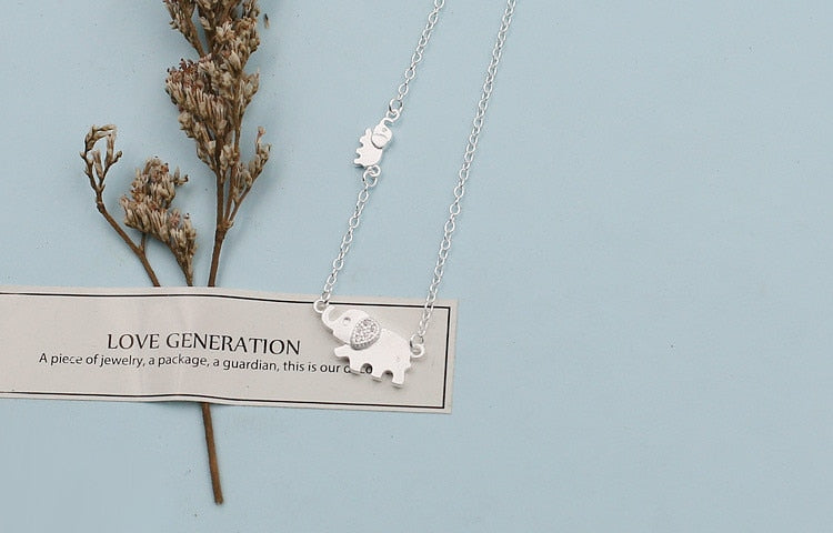 925 cute elephant micro-inlaid necklace