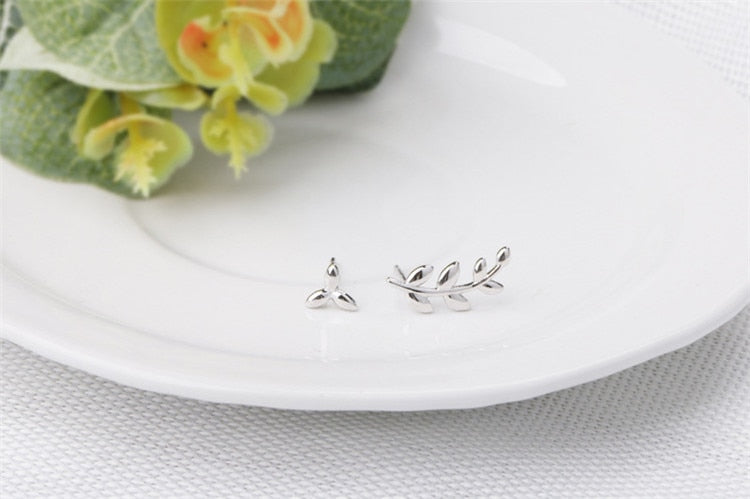 925 asymmetric olive leaf olive branch earrings