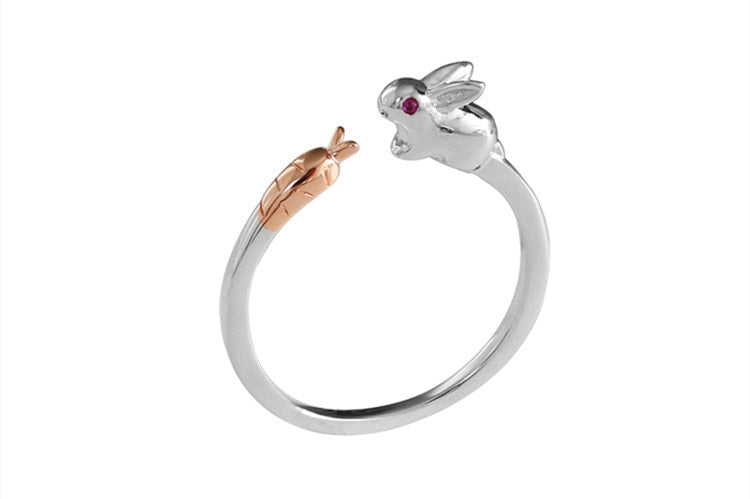 925 simple cute bunny carrot ring