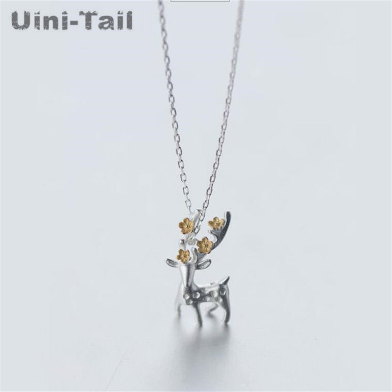 silver Christmas gift deer necklace