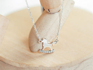 925  horse micro-inlaid necklace