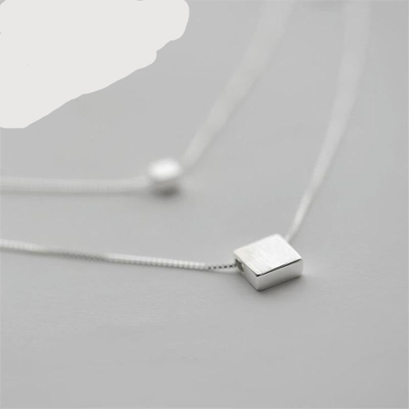 925small square double necklace