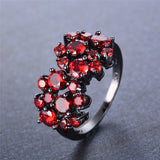 Small Red Round Stone Ring