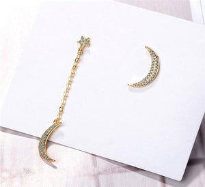925 stars moon asymmetrical micro-set long earrings