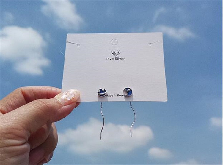 925 blue planet earrings