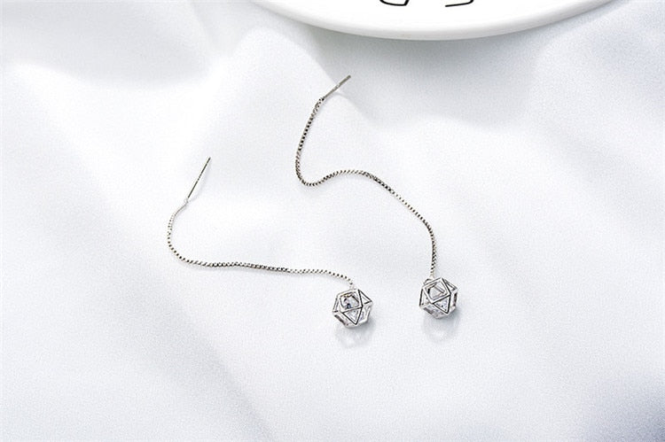 925 Hollow Cube Long Earrings