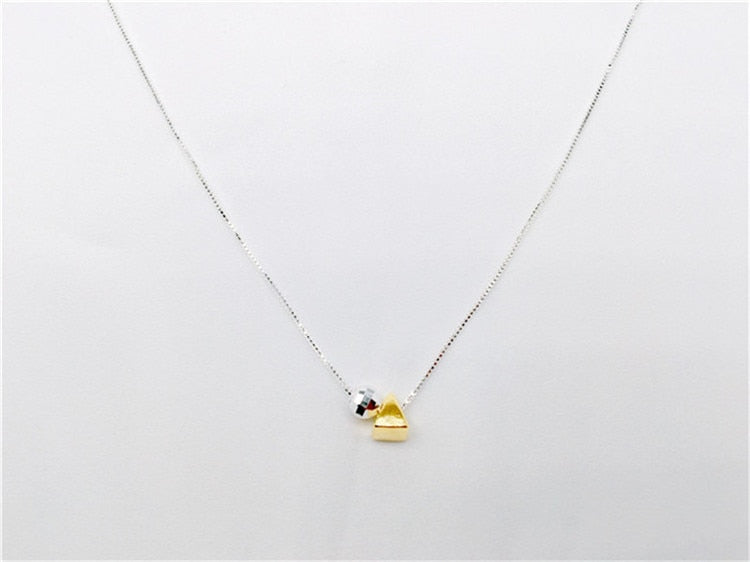 925 ball triangle geometry necklace