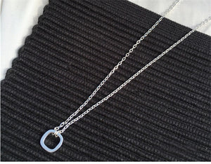 925 hollow square necklace