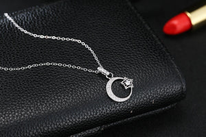 925 stars moon micro-inlaid necklace