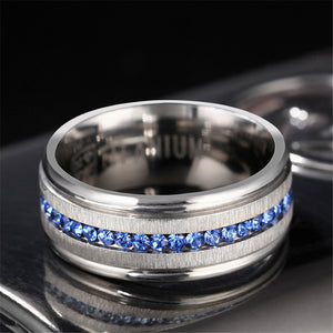 Blue Zircon Ring Male