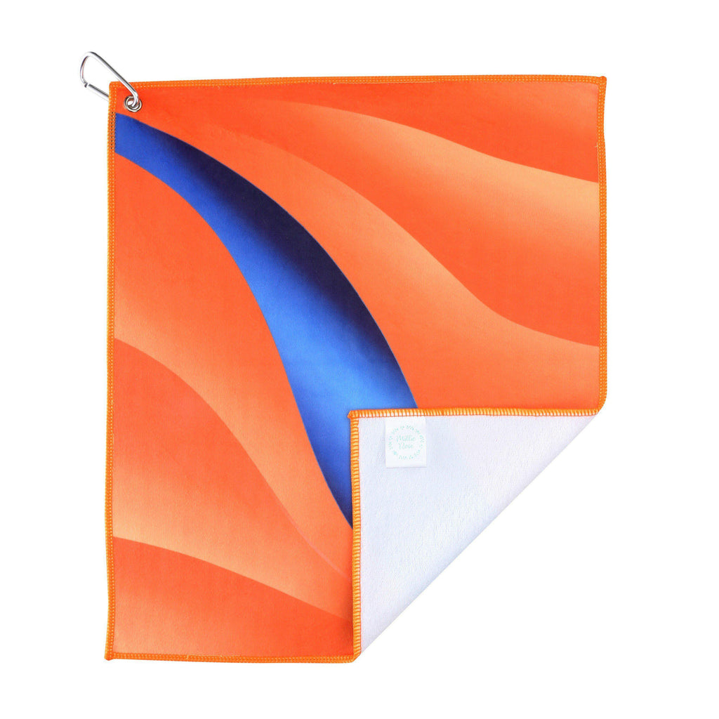 Orange and Blue Microfiber Cotton Golf and Tennis Towel with Carabiner Clip-Golf Towel-Millie Rose Designs