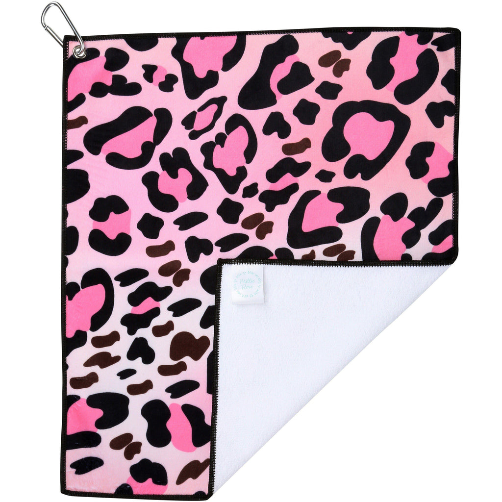 Pink Leopard Microfiber Golf & Tennis Towel-Golf Towel-Millie Rose Designs