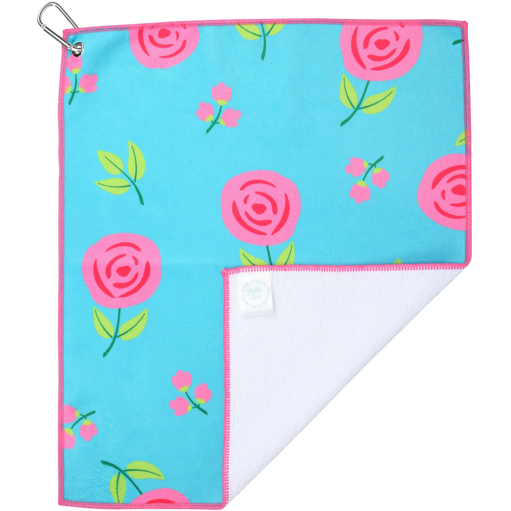 Pink Peonies Microfiber Golf & Tennis Towel-Golf Towel-Millie Rose Designs