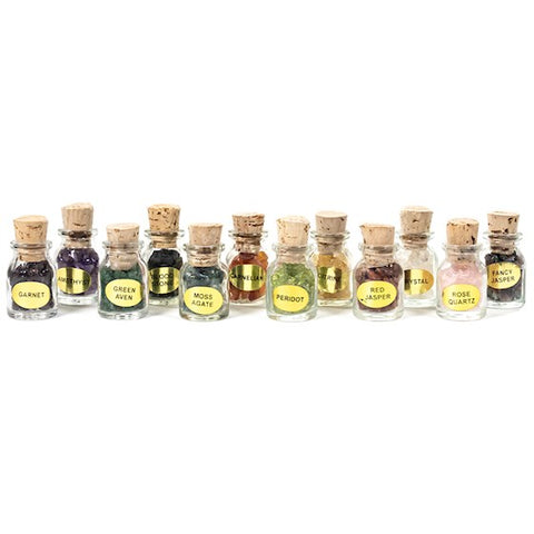 Set of 12 Gemstone Display Gift Bottles